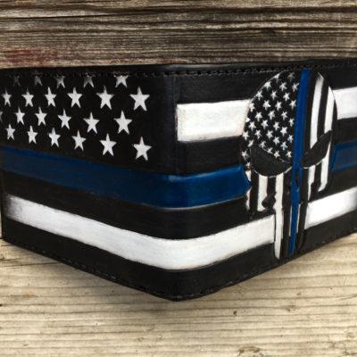 punisher blue lives matter custom wallet