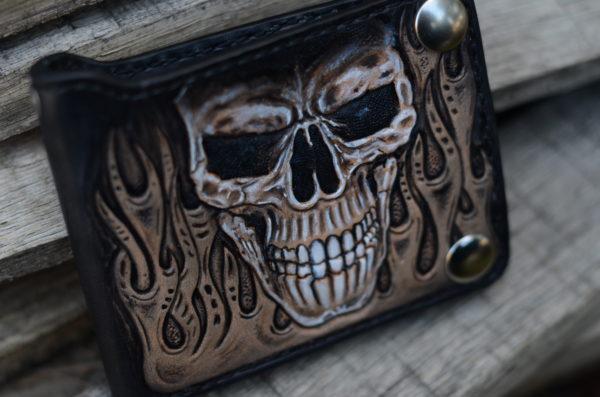 skull and flames biker bifold wallet