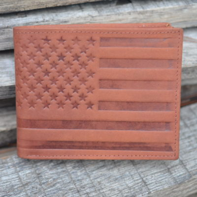 Affordable Embossed American Flag Genuine leather Wallet