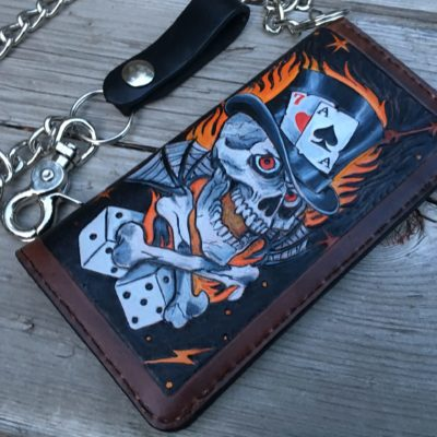 The Gambler Tooled Biker Wallet by Christoph Joseph Leather